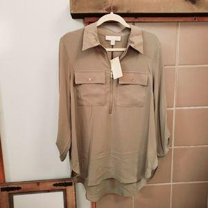 MICHAEL KORS Safari Green Crepe Half-Zip Top